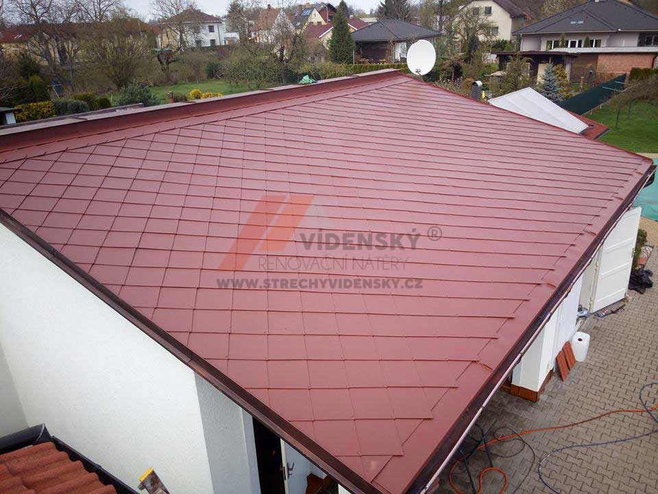 Vídenský | Renovační nátěr eternitové střechy 04 - Hnědočervený odstín