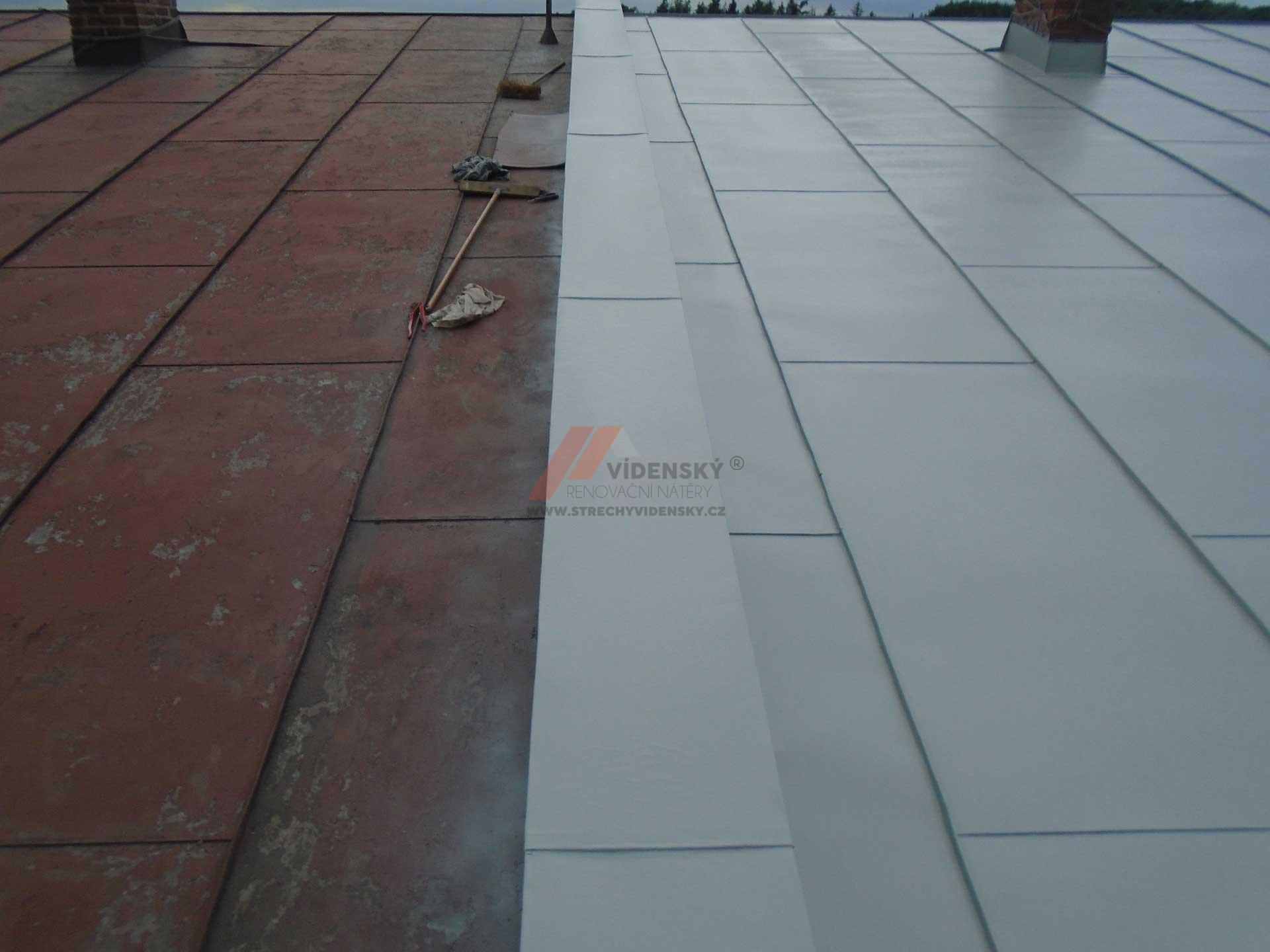 Vídenský | Renovační nátěr plechové střechy 04 - Porovnání